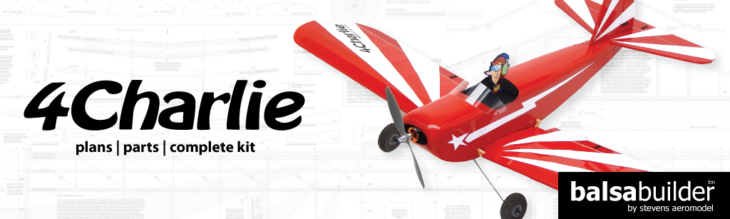 The BalsaBuilder 4-Charlie Model Airplane is show in Red and White Trim